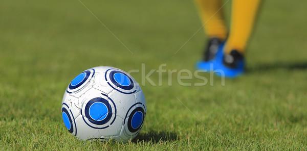 Fútbol resumen imagen balón de fútbol hierba distancia Foto stock © RazvanPhotography