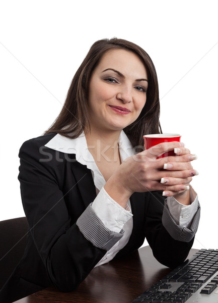 Portrait of a Young Woman with a Red Cup Stock photo © RazvanPhotography