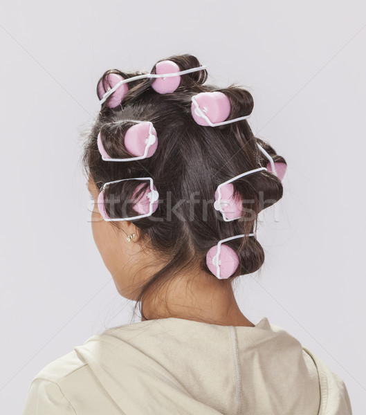 Woman with Curlers Stock photo © RazvanPhotography