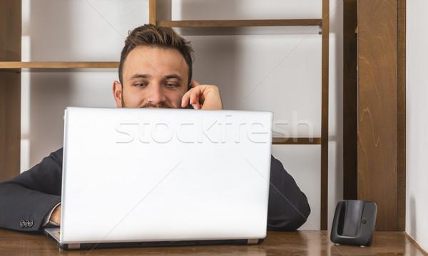 ストックフォト: 受付 · 電話 · 後ろ · ノートパソコン · 受付 · デスク