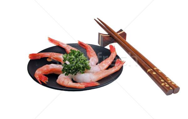 Karides sashimi ahşap plaka iki Çin yemek çubukları Stok fotoğraf © RazvanPhotography