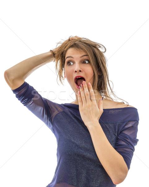 Fiatal nő fiatal vonzó nő sikít meglepetés izolált Stock fotó © RazvanPhotography