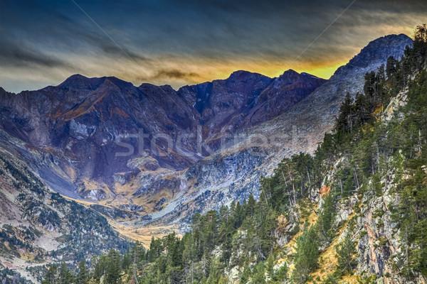 Foto stock: Montanhas · impressionante · paisagem · crepúsculo · França · fundo