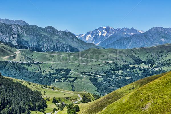 Foto stock: Paisagem · montanhas · belo · distância · ver · montanha