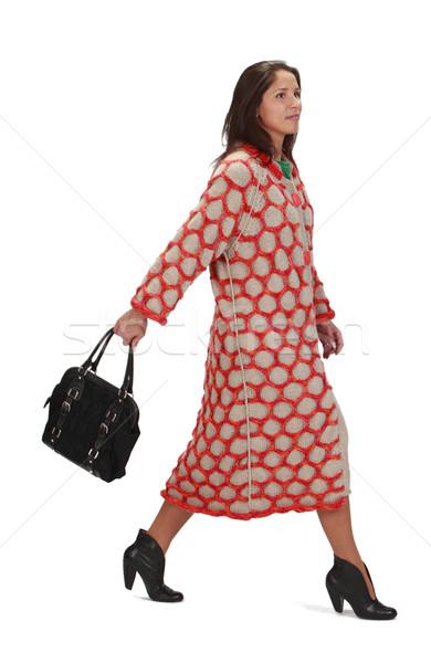 Femme dépêchez jeune femme tricoté marche sac Photo stock © RazvanPhotography