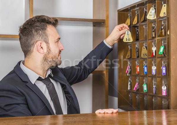 портье молодые ключевые при бизнеса Сток-фото © RazvanPhotography