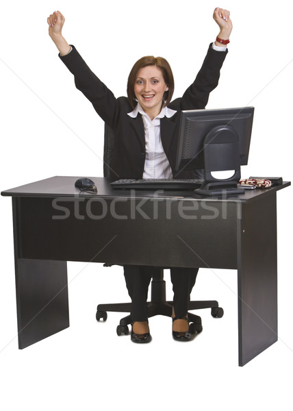 Erfolg erfolgreich jungen Geschäftsfrau Schreibtisch isoliert Stock foto © RazvanPhotography