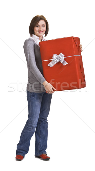 Woman with a red gift box Stock photo © RazvanPhotography
