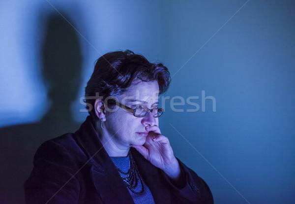 Portrait of a Woman in Blue Screen Light Stock photo © RazvanPhotography