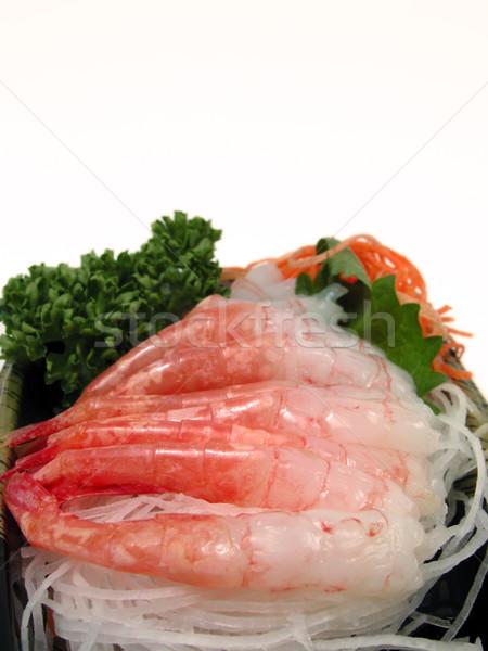 Krewetki sashimi tablicy żywności biały kultury Zdjęcia stock © RazvanPhotography