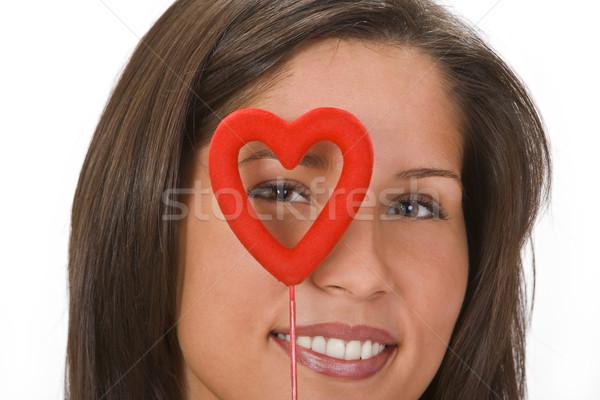 Valentine sorrindo olhando vermelho mulher sorrir Foto stock © RazvanPhotography
