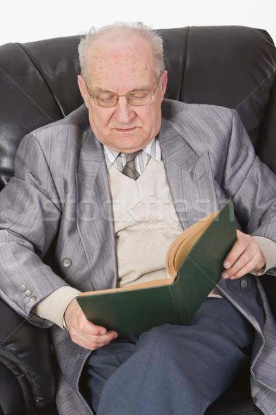Stock photo: Senior reading a book