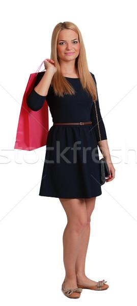 Fiatal nő bevásárlószatyor fiatal szőke nő rózsaszín váll Stock fotó © RazvanPhotography
