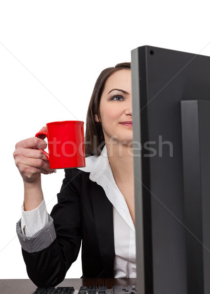 Businesswoman with a red cup of coffee Stock photo © RazvanPhotography