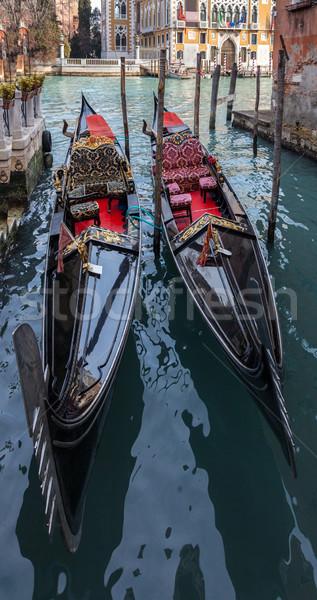 Deux gondole faible canal Venise Italie Photo stock © RazvanPhotography