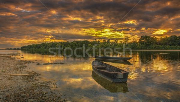Stock fotó: Naplemente · folyó · Franciaország · gyönyörű · központi · híres