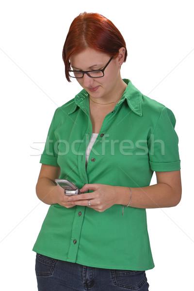 Tiener mobiele telefoon afbeelding meisje vrouw Stockfoto © RazvanPhotography