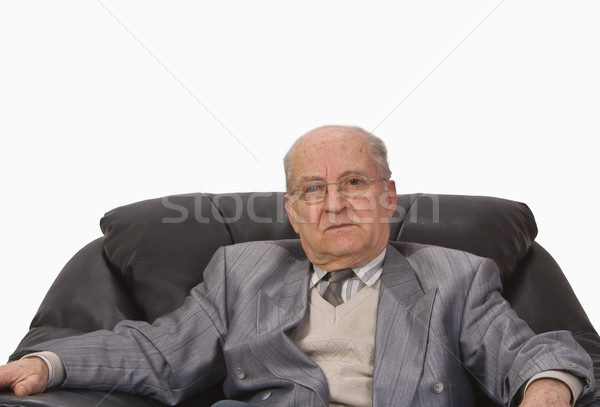 Portret senior man vergadering fauteuil Stockfoto © RazvanPhotography