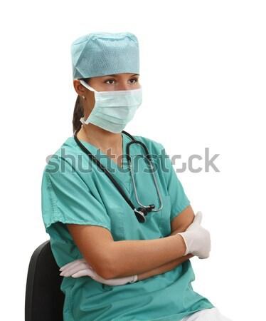 Stockfoto: Vrouwelijke · arts · afbeelding · jonge · vergadering · houding