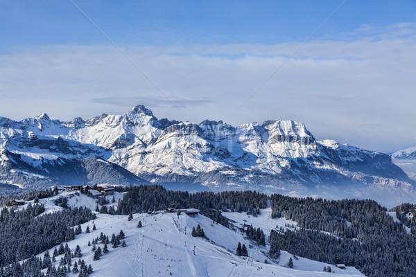 Hoog hoogte ski domein alpen sluiten Stockfoto © RazvanPhotography