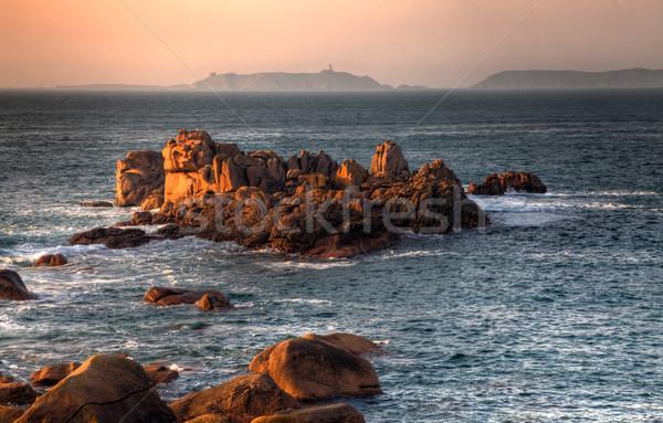 Sonnenuntergang schönen Felsen rosa Granit Küste Stock foto © RazvanPhotography