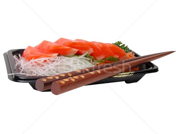 Somon sashimi Çin yemek çubukları kutu ahşap yalıtılmış Stok fotoğraf © RazvanPhotography