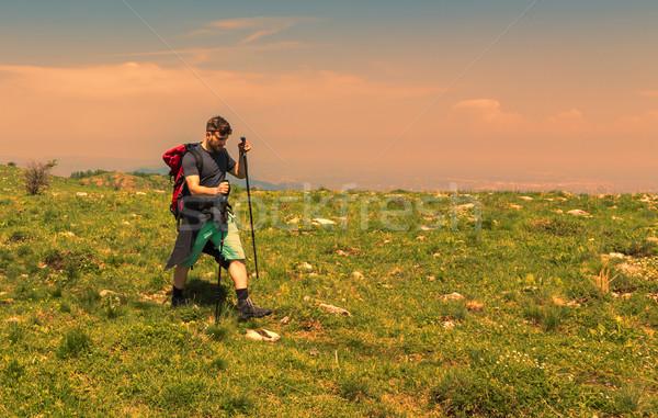 Adam yürüyüş yeşil dağlar genç Stok fotoğraf © RazvanPhotography