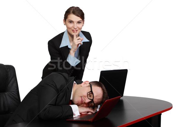 Silenzioso segretario silenzio stanco boss desk Foto d'archivio © RazvanPhotography