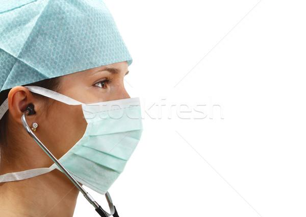 Kadın doktor profil maske stetoskop yalıtılmış Stok fotoğraf © RazvanPhotography