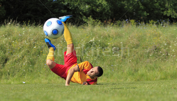 Akrobatikus labdarúgó föld labda pozició fű Stock fotó © RazvanPhotography