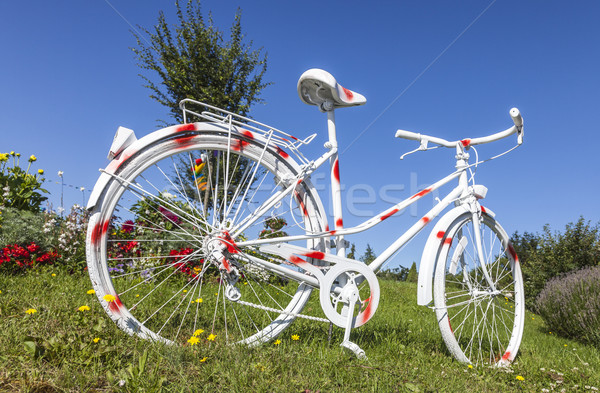 Foto stock: Vintage · bicicleta · pintado · flores · pequeño · pueblo