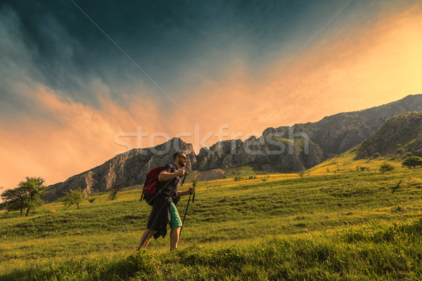 Man Hiking in Green Mountains Stock photo © RazvanPhotography