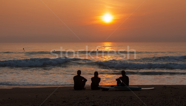 Stock photo: Surfers Admiring the Sunset