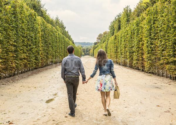 пару ходьбе саду задний изображение Сток-фото © RazvanPhotography