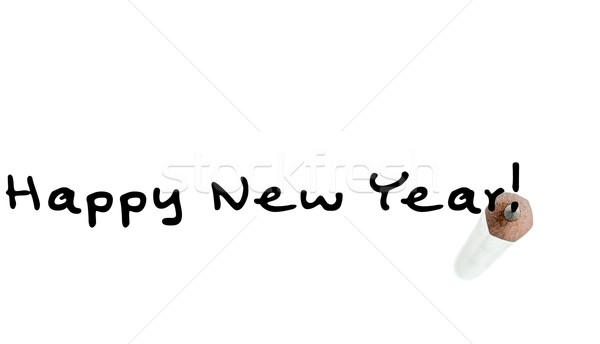 Gelukkig nieuwjaar opschrift tip grafiet potlood witte Stockfoto © RazvanPhotography