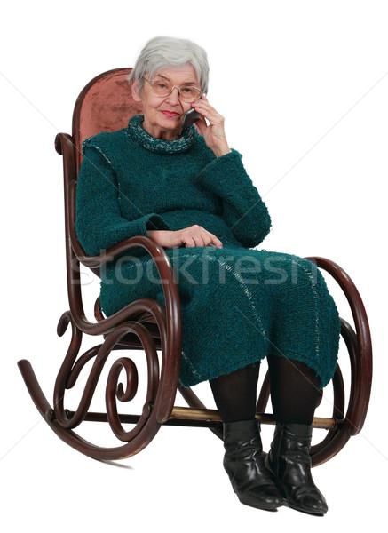 старуху телефон изображение сидят рокер мобильного телефона Сток-фото © RazvanPhotography
