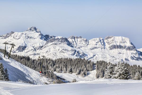élevé altitude ski domaine alpes étroite Photo stock © RazvanPhotography