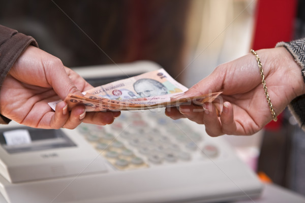 Trésorerie paiement instant détail main payer Photo stock © RazvanPhotography