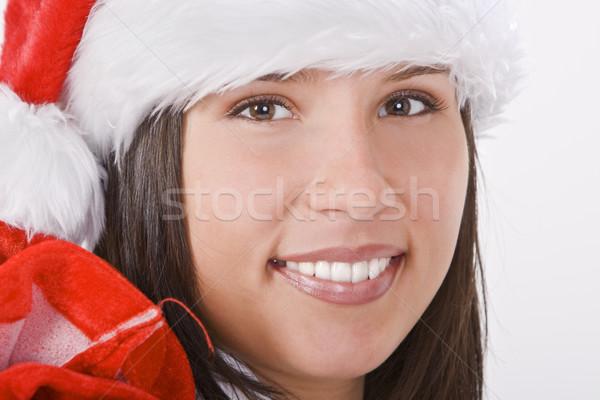 Święty mikołaj dziewczyna portret piękna dziewczyna hat worek Zdjęcia stock © RazvanPhotography