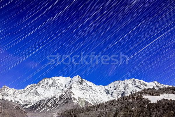 Star Trails Over Mont Blanc Stock photo © RazvanPhotography