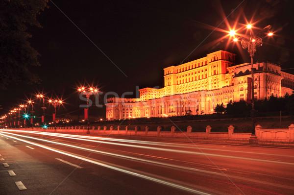 ночь движения автомобилей свет дворец парламент Сток-фото © RazvanPhotography