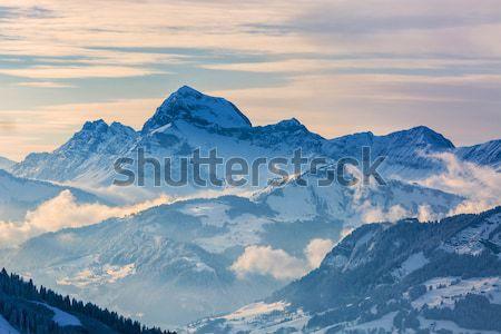 Zimą krajobraz piękna widoku powyżej chmury Zdjęcia stock © RazvanPhotography
