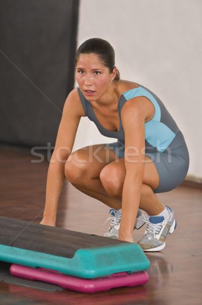 Aérobic instant image jeune femme formation gymnase Photo stock © RazvanPhotography