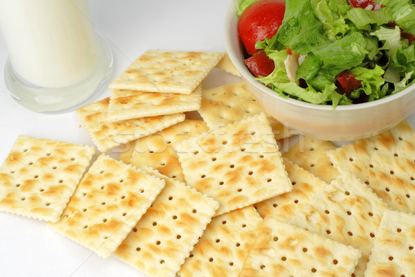 Dieta sana alimentare insalata vetro latte può Foto d'archivio © RazvanPhotography