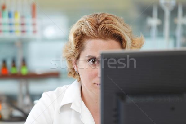 Dolgozik számítógép közelkép szem női kutató Stock fotó © RazvanPhotography