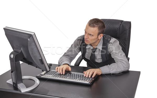 小さな ビジネスマン 作業 画像 コンピュータ 孤立した ストックフォト © RazvanPhotography