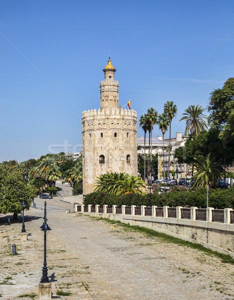 Wieża złota Hiszpania obraz wojskowych rzeki Zdjęcia stock © RazvanPhotography