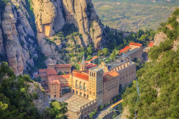 Klasztor widok z lotu ptaka Święty mikołaj górskich charakter krajobraz Zdjęcia stock © RazvanPhotography