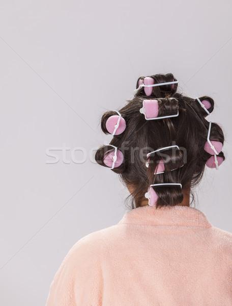 Woman with Curlers Stock photo © RazvanPhotography