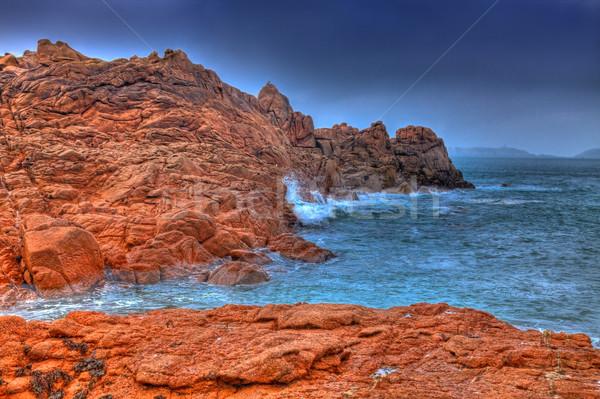 Pembe granit sahil güzel manzara kuzeybatı Stok fotoğraf © RazvanPhotography